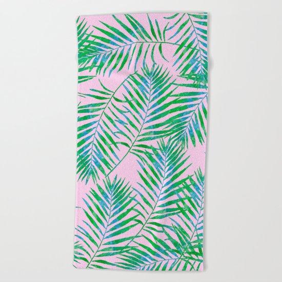 Fern Leaves Pink Beach Towel