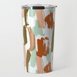 Retro Color Block Stripes Popsicle Sticks Rusty Orange Travel Mug