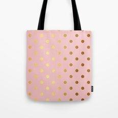 Gold polka dots on rosegold backround - Luxury pink pattern Tote Bag