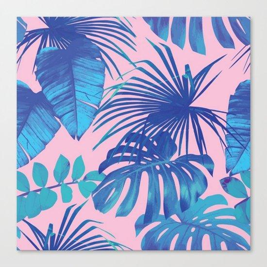 tropical leaf pattern pink  Canvas Print