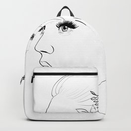 Fashion Illustration Floral Hairdo Bridal Updo Hair Style Drawing Line Art Backpack