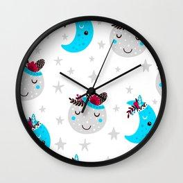 cute moon Wall Clock