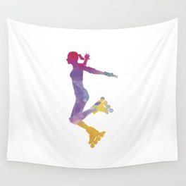 Woman in roller skates 03 in watercolor Wall Tapestry