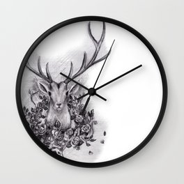 Deer with a Wreath of Roses Wall Clock