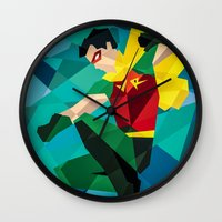 dc comics Wall Clocks featuring DC Comics Robin by Eric Dufresne