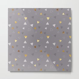 Multi Triangles - Gray Metal Print