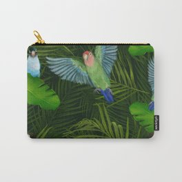Lovebirds and tropical leafs Carry-All Pouch