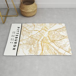 PITTSBURGH PENNSYLVANIA CITY STREET MAP ART Rug