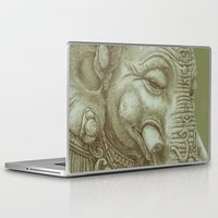 ganesh Laptop & iPad Skins featuring Ganesh green by Miryams Artwork