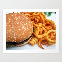 hamburger Art Prints featuring Hamburger by LoRo  Art & Pictures