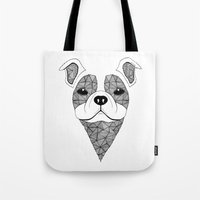 bulldog Tote Bags featuring Bulldog  by Art & Be