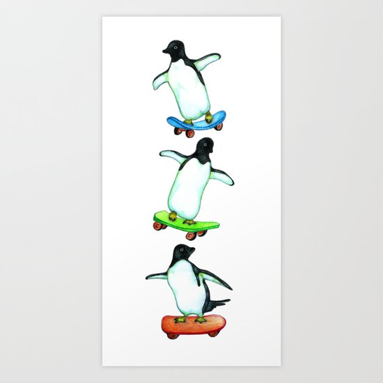 Happy Wheels - Penguins on Skateboards  Art Print