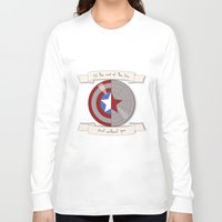 steve rogers Long Sleeve T-shirts featuring Steve Rogers and Bucky Barnes Shield by Mallory Anne