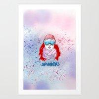 snowboarding Art Prints featuring I LOVE SNOWBOARDING  by Ylenia Pizzetti