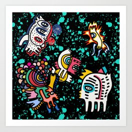 Mostrini in the Space Graffiti Street Art  Art Print