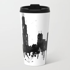 Watercolor Chicago Skyline Travel Mug