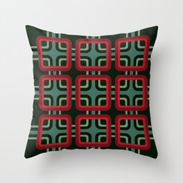 Geometric Pattern #69 (red & turquoise 1970s) Throw Pillow