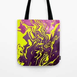 Yellow, Purple and Pink Intertwine; Fluid Abstract 50 Tote Bag