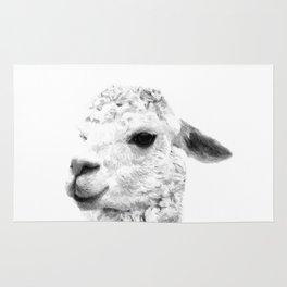 Black and white alpaca animal portrait Rug