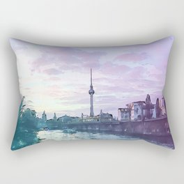 Berlin at Sunset - Illustration - Alexanderplatz - Alex TV Tower Rectangular Pillow