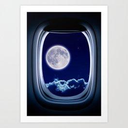 Airplane window with Moon, porthole #3 Art Print