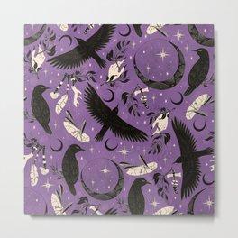 Raven Tarot Purple  Metal Print