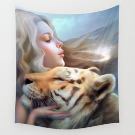 Angel of Tigers Wall Tapestry
