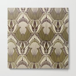 Art nouveau, neutral color pattern, floral design Metal Print