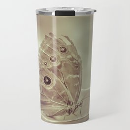 Patterned Wings Butterfly Over Leave Travel Mug