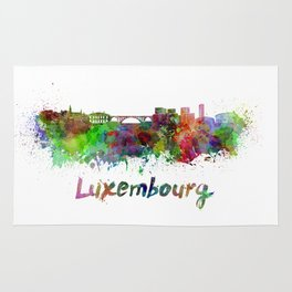 Luxembourg skyline in watercolor Rug