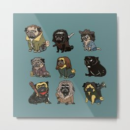 The Walking Pug Metal Print