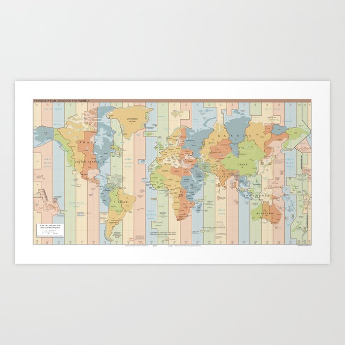 World Time Zone Map Art Print By Bravuramedia Society6