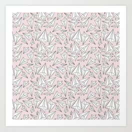 Paper Airplanes Blush Art Print