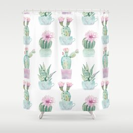 Simply Echeveria Cactus in Pastel Cactus Green and Pink Shower Curtain