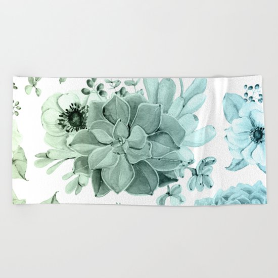 Simply Succulent Garden in Turquoise Green Blue Gradient Beach Towel