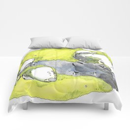 Moss Study with Wolf Print Comforters