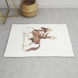 Knight on a horse - Victorian line art Rug