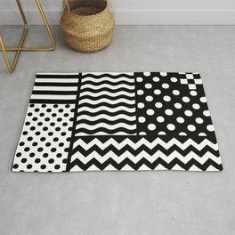 Mixed Patterns (Horizontal Stripes/Polka Dots/Wavy Stripes/Chevron/Checker) Rug