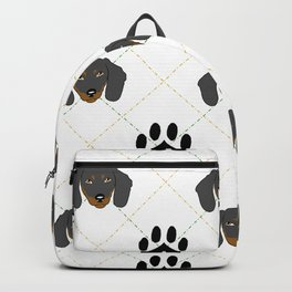 Dachshund Paw Print Pattern Backpack
