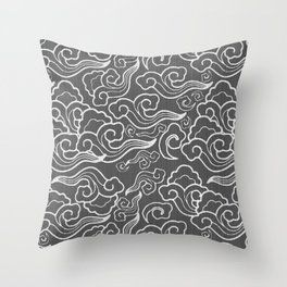 Vintage Japanese Clouds, Graphite Gray / Grey Throw Pillow