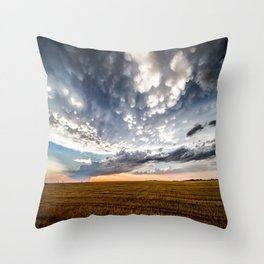 After the Storm - Spacious Sky Over Field in West Texas Throw Pillow