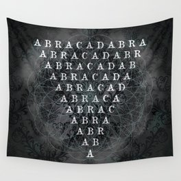 Abracadabra Reversed Pyramid in Charcoal Black Wall Tapestry
