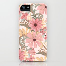 Pink Sage Green Floral Leaves Watercolor Pattern iPhone Case