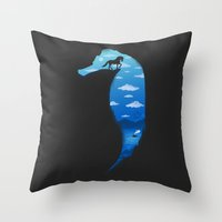seahorse Throw Pillows featuring Seahorse by Fathi