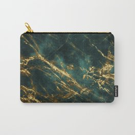 Lavish Velvety Green Marble With Ornate Gold Veins Carry-All Pouch