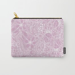 Modern trendy white floral lace hand drawn pattern on mauve pink lavender Carry-All Pouch
