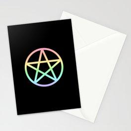 Rainbow Pentacle on Black Stationery Cards