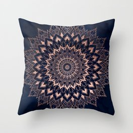 Boho rose gold floral mandala on navy blue watercolor Throw Pillow