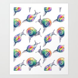 Rainbow Crystal Clear Snails Art Print