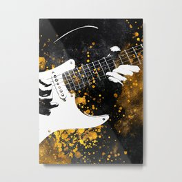 Guitar music art gold and black #guitar #music Metal Print